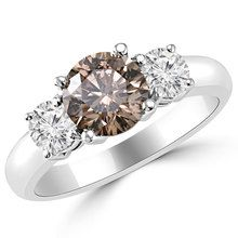Champagne-Brown Diamond 3 Stone Engagement Ring