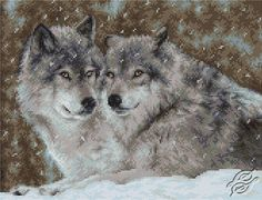 Two Wolves - Cross Stitch Kits by Luca-S - B2291