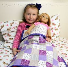 Karin Jordan of Leigh Laurel Studios made this pretty patchwork doll quilt for her daughter's American Girl doll. At x both doll and doll-mom get to snuggle. Baby Doll Bed, Baby Dolls, Doll Beds, Reborn Dolls, Reborn Babies, Doll Clothes Patterns, Doll Patterns, Kids Patterns, Sewing Patterns