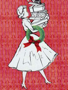 1950s Vintage Greetings Card. Been Christmas Shopping...
