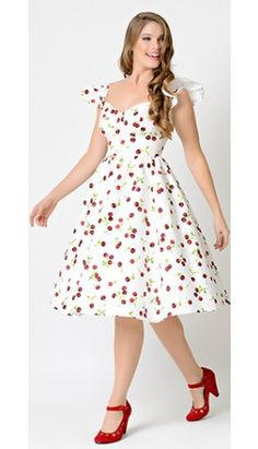 Stop Staring! 1950s Style White Cherry Flutter Sleeve Ella Swing Dress