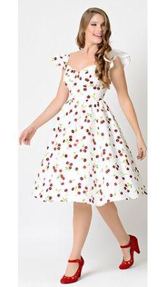 Stop Staring! 1950s Style White Cherry Flutter Sleeve Ella Swing Dress