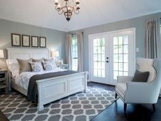 Wonderful Pretty and relaxing master bedroom by fixer upper. Farmhouse but not too country The post Pretty and relaxing master bedroom by fixer upper. Farmhouse but not too country… appeared first on Home Decor Designs . Relaxing Master Bedroom, Farmhouse Master Bedroom, Master Bedroom Design, Dream Bedroom, Home Bedroom, Bedroom Designs, Bedroom Carpet, Bedroom Retreat, French Doors Bedroom
