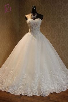 100% Real Photos Lace High Quality Crystals Beaded Lace Up Back Ball Gown Sweetheart Wedding Dresses Gowns Bridal Dress 2017