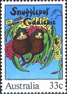 Snugglepot & Cuddlepie featured on an Australian 1985 postage stamp. Australian Authors, Australian Art, Stamp Collecting, Postage Stamps, Retro, Childhood Memories, Cuddling, Childrens Books, Illustrators