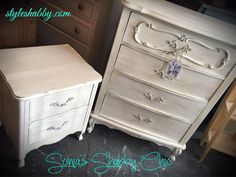 Hand painted french provincial style dresser and night stand in our ever loved Junk Monkey chalky paint. The color is antique lace, find it at www.styleshabby.com!