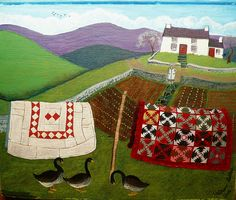 Вышивка с историей: Isabelle Haccourt Vautier & Valériane Leblond - La Lessive (Стирка) Art Painting, Art Photography, Naive Art, Naïve Artist, Whimsical Art, Art, Landscape Art, Beautiful Art, Country Art