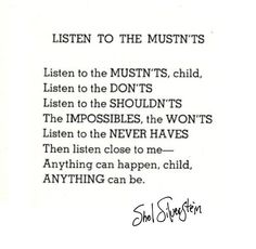Enjoy one of my favorite Shel Silverstein poems on the last day of #PoetryMonth #NationalPoetryMonth #WordsOfWisdom