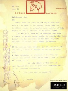 A 1930s letter to the Press from an irritated Ezra Pound has recently been found in the OUP Archives, complete with a letter-head designed after Pound's profile. (Image courtesy of OUP Archives. Do not re-use without permission.)