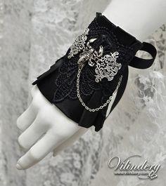 Little Gothic Cuff Bracelet with scorpio, Cute Lolita Vampire Style, Beautiful Dark Fashion, Elegant Goth Wedding hand jewelry
