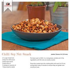 Recipe for Chilli Soy Nut Snacks Chilli Recipes, Gourmet Recipes, Dog Food Recipes, Spicy Nuts, Mixed Nuts, Recipe Cards, Hot Sauce, Starters, Oven