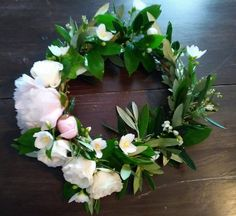 Floral Crown made with Locally grown flowers in Kansas City  Peonies ...mock orange