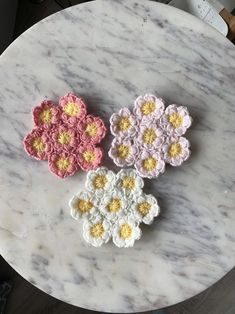 Crocheted Flower pattern Coasters A set of three   Etsy Crochet Flower Patterns, Crochet Flowers, Spring Flowers, Coasters, Crochet Earrings, Friends, Pink, Color, Etsy