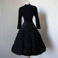 vintage 1940s dress ...designer ANN KAUFFMAN black ruffled skirt