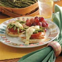Asparagus Chicken Sandwiches:   4 servings; One serving (2 topped muffin halves) equals 385 calories, 11 g fat;  Diabetic Exchanges: 2 starch, 2 lean meat, 1 vegetable, 1 fat, 1/2 reduced-fat milk