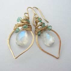 Rainbow Moonstone Earrings with Apatite by SarahHickeyJewellery