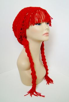 Raggedy Ann Wig Slouchy Hat $25 -- LIKE MY PAGE > www.facebook.com/tzigns -- SHOP > www.tzigns.etsy.com