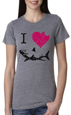 Women's I Love Sharks T Shirt Classic Shark Bite Shirt Shark Tee For Women S