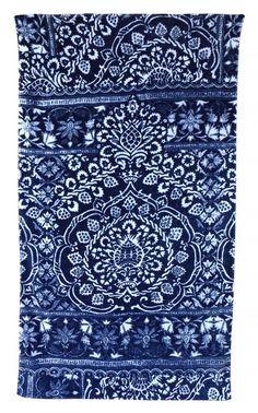 Bohemian Damask Royal Blue beach towel by fresco towels. www.shopvandevort.com