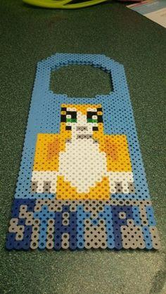 Stampy cat Minecraft door knob hanger (my own design) Doorknob Hangers, Door Hangers, Stampy And Squishy, Stampy Cat Minecraft, Picnic Blanket, Outdoor Blanket, Pixel Beads, Cool Bookshelves, Door Knob