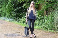 anna lou elliott | 29.04.14 wearing #Zara embroidered bomber, #MichaelKors leather leggings and #Topshop navy t-shirt #todayimwearing #ootd