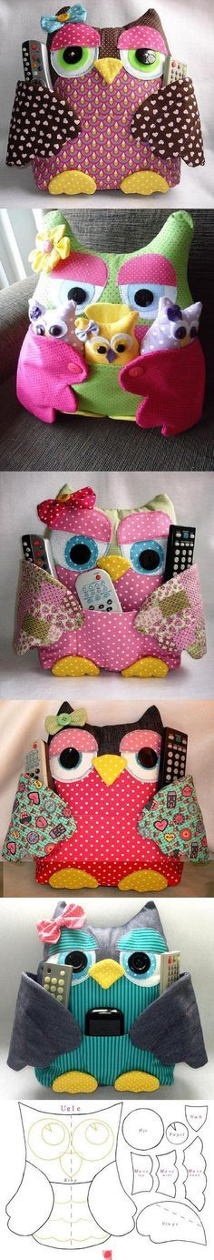 remote control caddy owl pillow