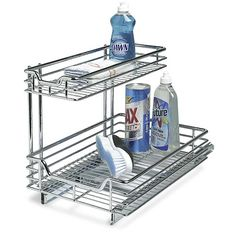 Install this Under Sink Sliding Cabinet Organizer and keep your kitchen cabinets and their contents organized.