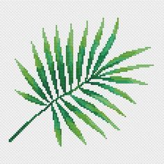 Palm leaf cross stitch pattern PDF/ tropical needlepoint