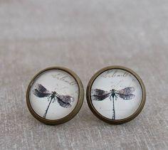 Dragonfly Earrings .. black and white earrings by beadishdelight