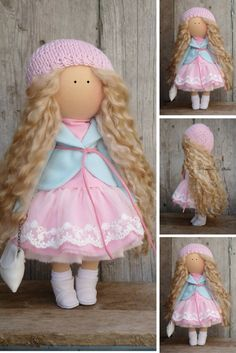 Fabric doll handmade white red blonde Tilda doll Decor doll Collectable doll Soft doll Baby doll Cloth doll magic