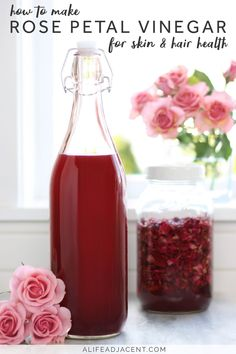 Rose petal vinegar for skin & hair health + ways to use it! This homemade vinegar can be used to make a variety of DIY beauty recipes. It adds a gorgeous colour and fragrance to your homemade skincare products. Rose vinegar is rich in antioxidants and soothing compounds that are great for skin & hair health. Use it to make a face toner, hair rinse, scalp tonic, soothing spray & much more. #beautytips #beautyhacks #roses #applecidervinegar #diybeauty #skincare #naturalbeauty Homemade Skin Care, Diy Skin Care, Homemade Products, Natural Cures, Natural Skin Care, Natural Health, Natural Oils, Diy Beauty Hacks, Perfume Diesel