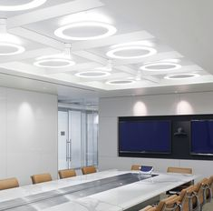 DESIGN: Concentric parabolic reflectors create a simple and elegant direct and indirect lighting. LIGHT SOURCE: High power LED available or Circline Eureka Lighting, Indirect Lighting, Power Led, Spinning, Mirror, Furniture, Design, Home Decor, Hand Spinning