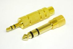 3.5 mm Female to 6.35 mm Male Adapter - Stereo Audio Cell Phone mp3 Players Gold