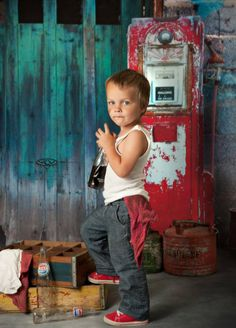 Great prop set up  colors. Gas Pump / station / Boy / Child Photography