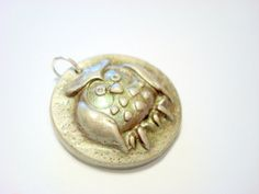 Mossy Green and Silver Handmade Polymer Clay Pendant by PennysLane, $6.00