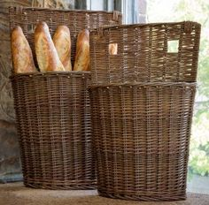"""These unique willow bin baskets would look great with dried hydrangeas or displaying your favorite linens. Select Individually or as a Set of 2 S 13"""" x 5"""" x 20"""" tall L 17"""" x 6"""" x 24"""" tall"""