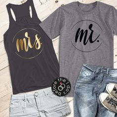 Mr. and Mrs. Flowy Racerback Tank and T-Shirt Set /// #beforetheidos #mrandmrs #justmarried #honeymoon