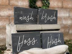 4 Bathroom Signs  Wash Brush Floss Flush  Customized Wooden