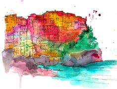 Brights of Cinque Terre print from original watercolor artist, Jessica Durrant