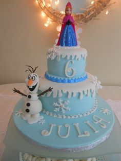 "Disney ""Frozen"" cake - I love the snowflakes, maybe as cupcake toppers"