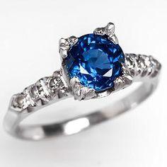 Antique Sapphire Engagement Ring Platinum 1930's