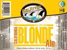 Cerveja Eel River California Blonde Ale, estilo Blond Ale, produzida por Eel River Brewing Company, Estados Unidos. 5.6% ABV de álcool.