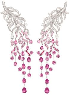 "Chanel ""Plume enchantée"" earrings in white gold, with 243 brilliant-cut diamonds totalling 4.8ct, four pear-cut diamonds, 142 round-cut pink sapphires totalling 11.8ct and 16 pear-cut pink sapphires totalling 10.6ct.    Via The Jewellery Editor."