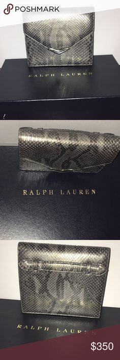 "Ralph Lauren Collection Python Envelope Clutch -Real Python -Comes with mirror -Sterling Silver tip -pre owned  -Size:Small -Magnetic snap closure -Mads in Italy  -height:6 1/2"" -depth: 1 6/8"" -length: 5 6/8"" -animal print  -100% authentic Ralph Lauren Bags Clutches & Wristlets"