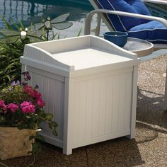 Suncast 22-Gallon Small Deck Box - Lightweight Resin Indoor/Outdoor Storage Container and Seat for Patio Cushions and Gardening Tools - Store Items on Patio >>> Find out more about the great product at the image link.-It is an affiliate link to Amazon.