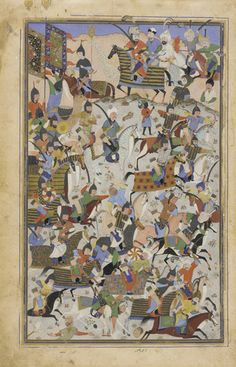 Folio from a Shahnama [?] (Book of Kings) by Firdawsi (d.1020); Battle scene 1525-1550 Mahmud Musawwir  Safavid period  Opaque watercolor and gold on paper H: 32.3 W: 21.0 cm  Iran