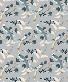 Birds Of Paradise Wallpaper in Grey from the Wallpaper Republic Collec - tropical garden ideas Paradise Wallpaper, Bird Wallpaper, Wallpaper Panels, Bathroom Wallpaper, Pattern Wallpaper, Beautiful Wallpaper, Boutique Wallpaper, Australian Boutique