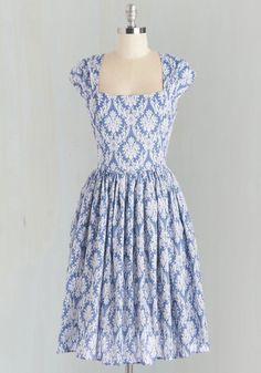 Glorious Glamour Dress. You honor stylish days past while celebrating your current tastes in this cotton dress!  #modcloth