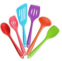 Lucentee® 6Piece Silicone Cooking Set  2 Spoons 2 Turners 1 Spoonula   Spatula & 1 Ladle  Heat Resistant Kitchen Utensils