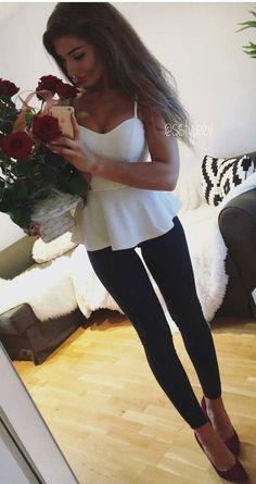 #winter #fashion / White Top + Black Leggings